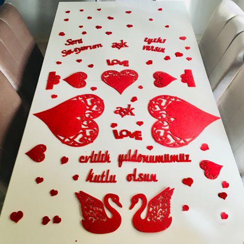 Evlilik Yıl Dönümü Masa Süsleme Seti Keçeden Kuğu, fiyatı