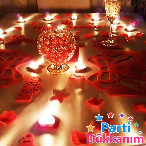 Sevgiliye Sürpriz Yılbaşı Romantik Masa Hazırlama Seti Keçeden, fiyatı