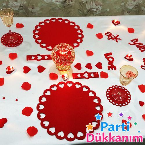 Sevgiliye Özel Masa Süsleme Keçe Süsler