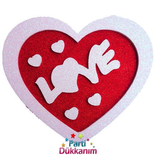 Love Yazılı Asma Süs Simli (38x34cm)
