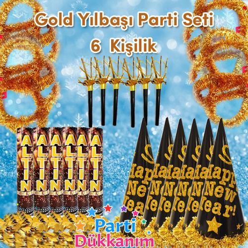 Gold Yılbaşı Parti Aksesuar Seti (6 kişilik), fiyatı