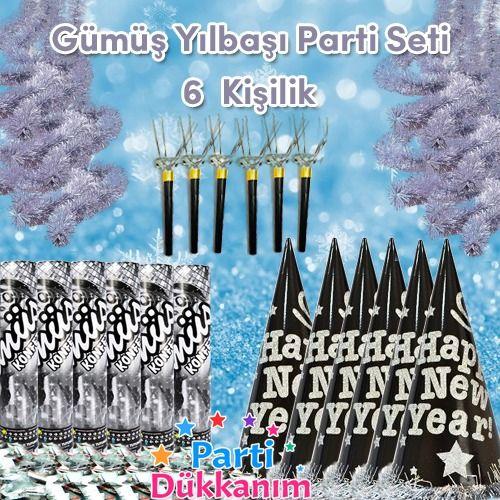 Gümüş Yılbaşı Parti Aksesuar Seti (6 kişilik), fiyatı