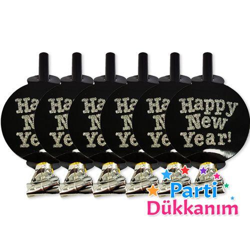 Yılbaşı Parti Düdükleri Happy New Year Gümüş  (6 adet), fiyatı