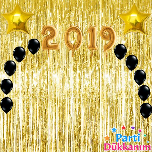 Yılbaşı Balon Süsleme Seti Gold 23 parça