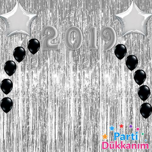 Yılbaşı Balon Süsleme Seti Gümüş 23 parça