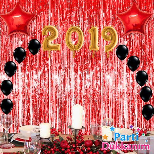 Yılbaşı Balon Süsleme Seti Kırmızı 23 parça, fiyatı