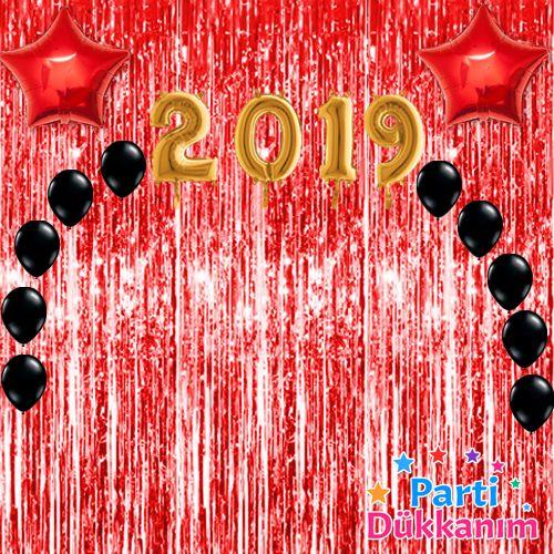Yılbaşı Balon Süsleme Seti Kırmızı 23 parça