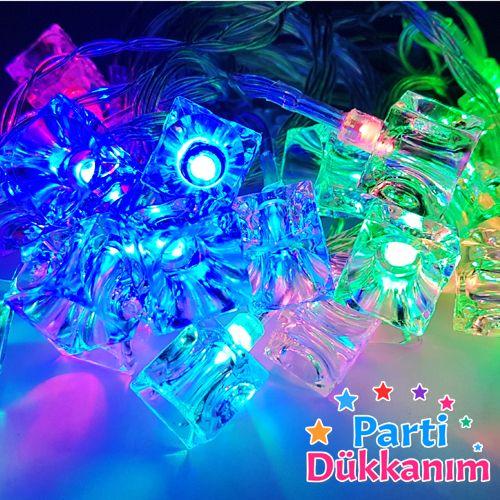 Küp Şekilli Led Işık 5 Metre Rengarenk Pilli