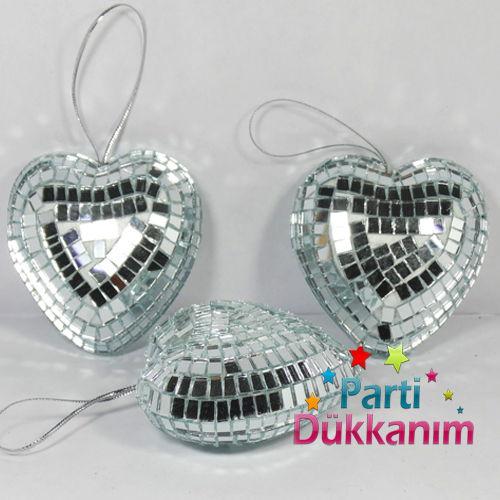 Kalpli Aynalı Süs Gümüş (3 Adet) Paketli