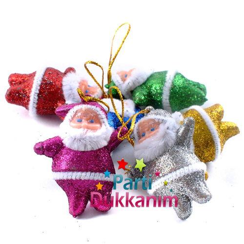 Küçük Simli Noel Baba Süsleri (6 Adet)