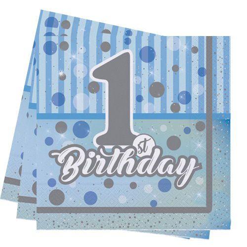 First Birthday Mavi Peçete 16 Adet, fiyatı