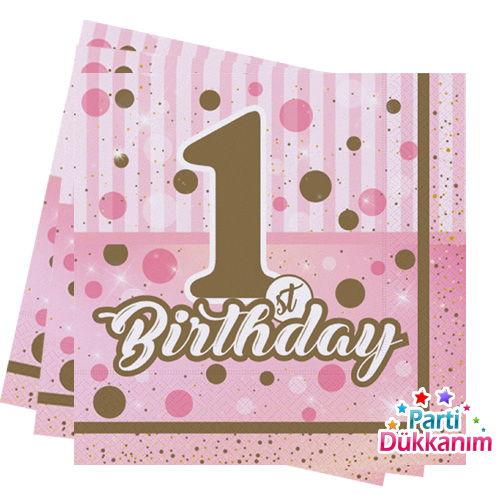 First Birthday Pembe Peçete 16 Adet, fiyatı
