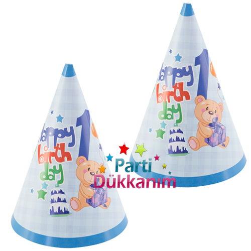 1 Yaş Ayıcıklı Mavi Şapka (6 Adet), fiyatı