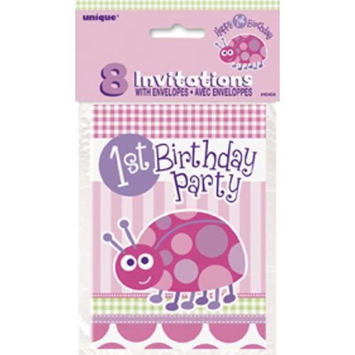 1 Yaş Davetiye Ladybug (8 adet)