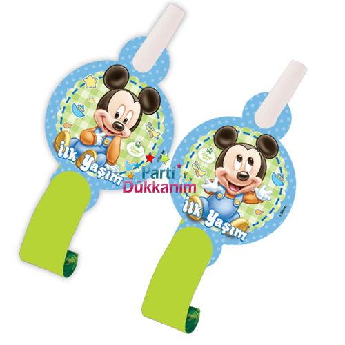 Baby Mickey Mouse Parti Düdüğü (6 Adet)