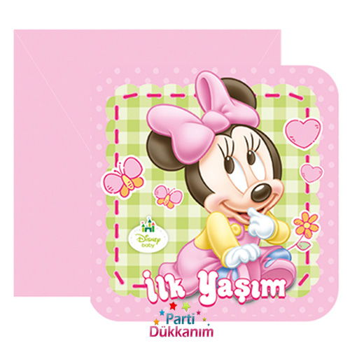 Baby Minnie Mouse Davetiye (6 adet)