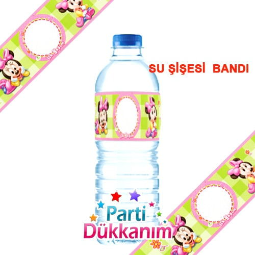 Baby Minnie Mouse Su şişesi Bandı 18 Adet Parti Dükkanım