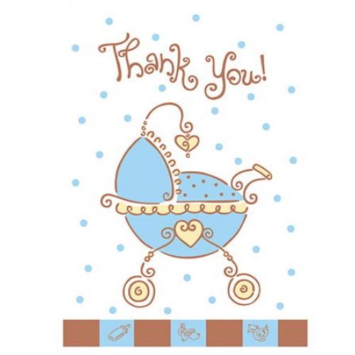 Baby Shower JOY Blue Teşekkür Notu (8 adet)