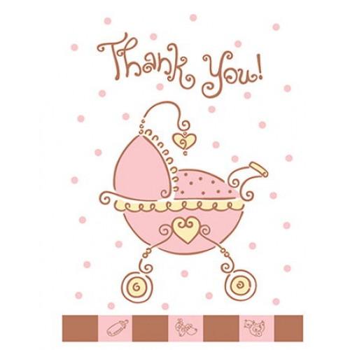 Baby Shower JOY Pink Teşekkür Notu (8 adet)