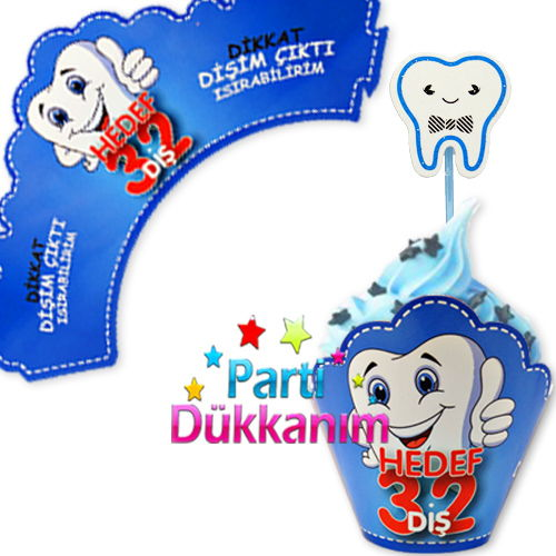 Diş Buğdayı Cupcake Süsü Mavi (10 adet)