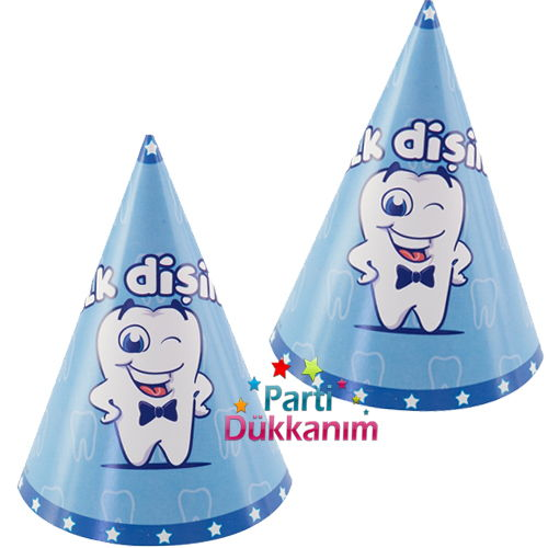 Diş Buğdayı Külah Şapka Mavi (6 Adet)