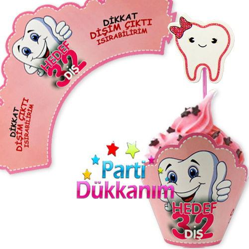 Diş Buğdayı Cupcake Süsü Pembe (10 adet)