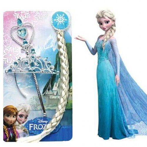 Frozen Elsa Taç, Asa, Örgü Saç Seti
