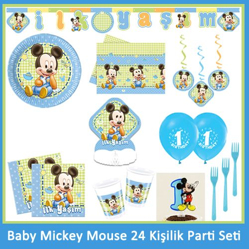 1 Yaş Baby Mickey Mouse 24 Kişilik Parti Seti, fiyatı