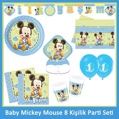1 Yaş Baby Mickey Mouse 8 Kişilik Parti Seti