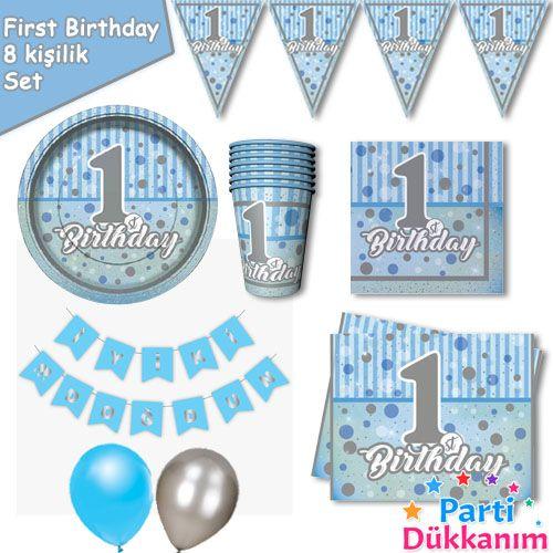 1 Yaş First Birthday 8 Kişilik Parti Seti Mavi, fiyatı