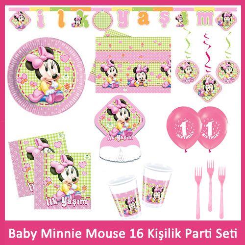 1 Yaş Baby Minnie Mouse 16 Kişilik Parti Seti