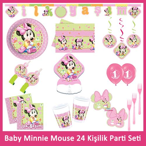 1 Yaş Baby Minnie Mouse 24 Kişilik Parti Seti, fiyatı