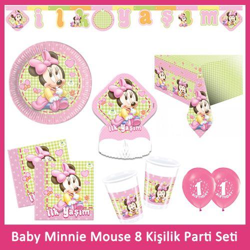 1 Yaş Baby Minnie Mouse 8 Kişilik Parti Seti