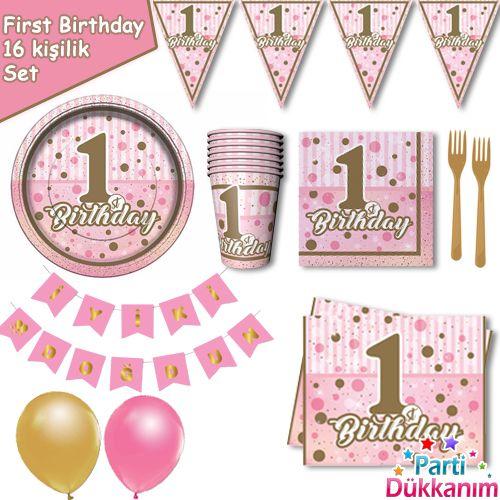 1 Yaş First Birthday 16 Kişilik Parti Seti
