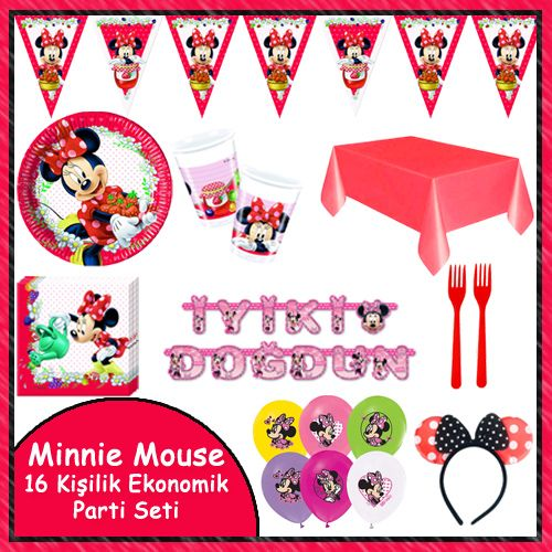 Minnie Mouse Jam Ekonomik Parti Seti (16 Kişilik)
