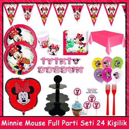 Minnie Mouse Jam Full Parti Seti (24 Kişilik)