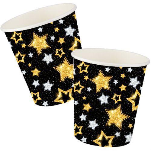 Siyah Üzeri Gold Gümüş Yıldızlar Bardak (8 adet), fiyatı