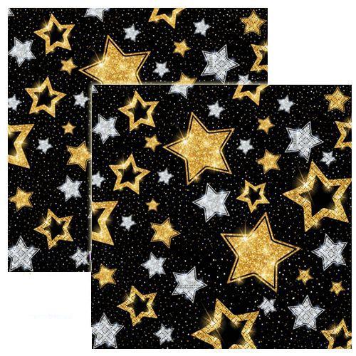 Siyah Üzeri Gold Gümüş Yıldızlar Peçete (20 adet)