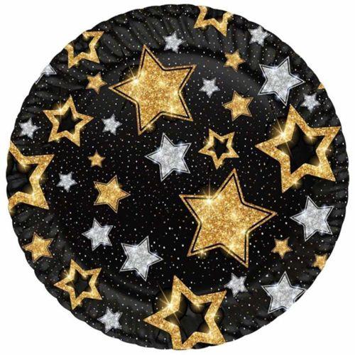 Siyah Üzeri Gold Gümüş Yıldızlar Tabak (8 adet)