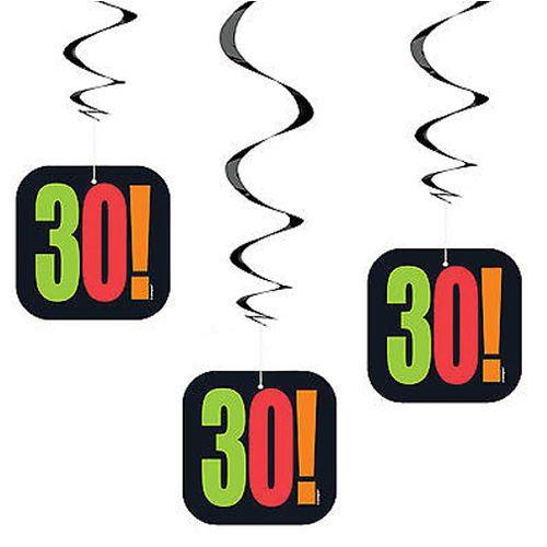 Birthday Cheer 30 Yaş Asma Süs (3 adet), fiyatı