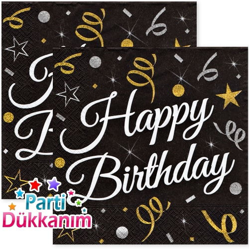 Happy Birthday Konfeti Yıldızlı Peçete (16 adet), fiyatı