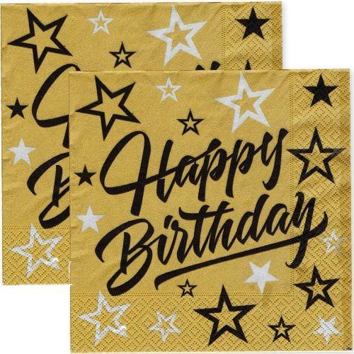 Happy Birthday Golden Stars Peçete (16 adet)