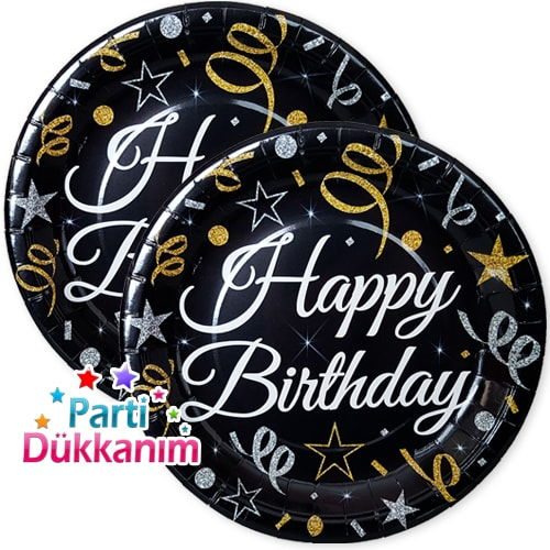 Happy Birthday Konfeti Yıldızlı Tabak (8 adet)