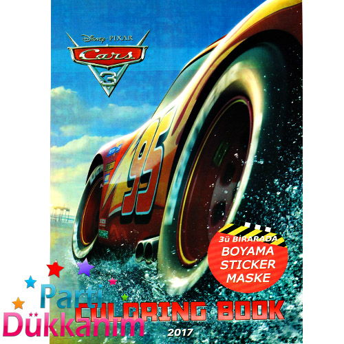 Cars Boyama Kitabı Stickerlı 16 Sayfa Parti Dükkanım