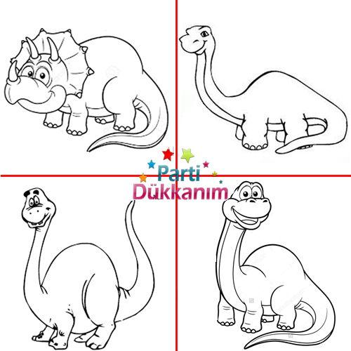 Dinozor Boyama Kitabı Stickerlı 16 Sayfa Parti Dükkanım