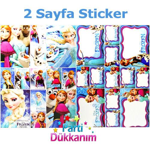 Frozen Boyama Kitabı Stickerlı 16 Sayfa Parti Dükkanım