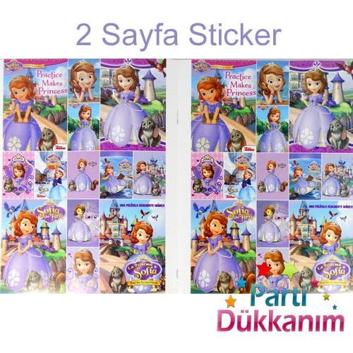 Prenses Sofia Boyama Kitabı Stickerlı 16 Sayfa Parti Dükkanım