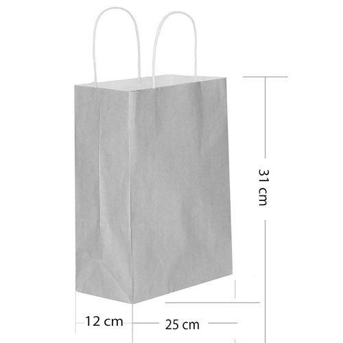 Gri Kağıt Çanta Büyük Boy (31x25 cm), fiyatı