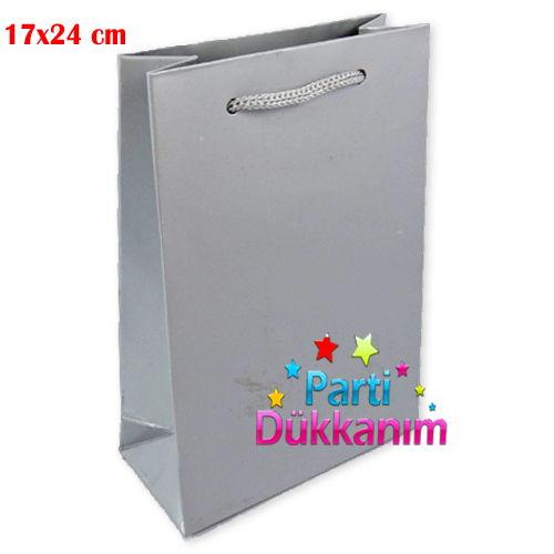 Gümüş Karton Çanta (17x24 cm)