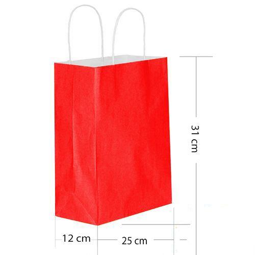 Kırmızı Kağıt Çanta Büyük Boy (31x25 cm), fiyatı